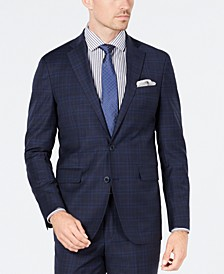 Men's Grand OS Slim-Fit Wearable Technology Plaid Suit Jacket
