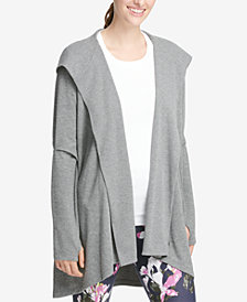 DKNY Sport Cut-Out Elbows Hooded Cardigan