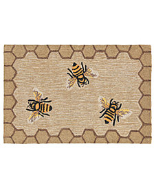 "Liora Manne Front Porch Indoor/Outdoor Honeycomb Bee Natural 2'6"" x 4' Area Rug"