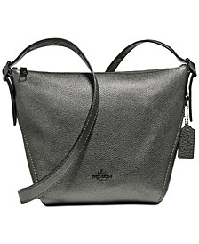 Metallic Leather Dufflette Crossbody