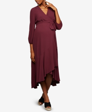 Vintage Style Maternity Clothes A Pea In The Pod Maternity Wrap Maxi Dress $138.00 AT vintagedancer.com