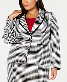 Kasper Plus Size One-Button Houndstooth Blazer