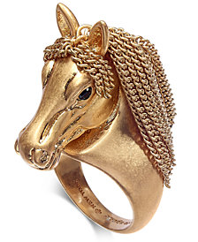 kate spade new york Gold-Tone Pavé & Chain Horse Ring