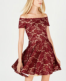 B Darlin Juniors' Lace Off-The-Shoulder Fit & Flare Dress