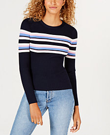 Hooked Up by IOT Juniors' Striped Ribbed Zip Sweater