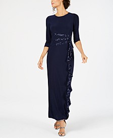Plus Size Sequin-Trim Ruffle-Detail Gown