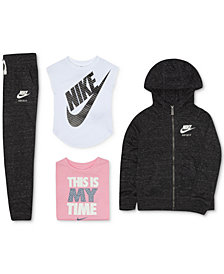 Nike Little Girls Zip-Up Hoodie, Graphic T-Shirts & Jogger Pants