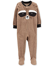 Carter's Baby Boys Raccoon Face Footed Fleece Pajamas