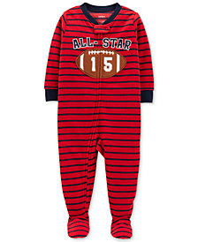 Carter's Baby Boys Striped Football Footed Fleece Pajamas