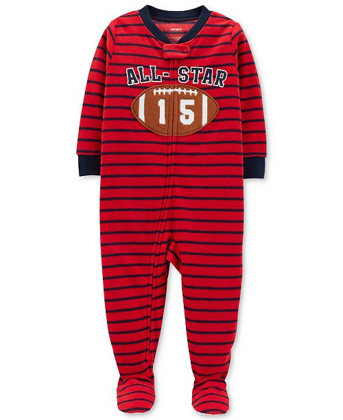 fc70dde79 Carter s Baby Boys Striped Football Footed Fleece Pajamas   Reviews ...