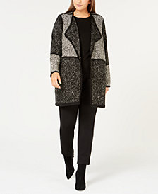 Calvin Klein Plus Size Colorblock Open-Front Cardigan