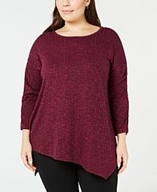 Plus Size Asymmetrical-Hem Top