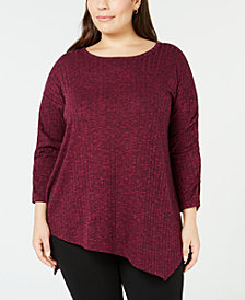 John Paul Richard Plus Size Asymmetrical-Hem Top