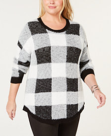 John Paul Richard Plus Size Plaid Sweater