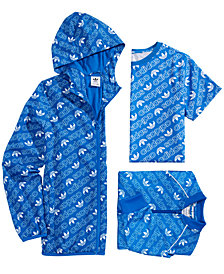 adidas Big Boys Originals Monogram-Print Zip-Up Track Jacket, Hooded Jacket & T-Shirt