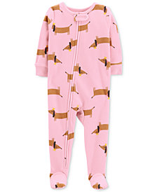 Carter's Baby Girls Dog-Print Footed Fleece Pajamas