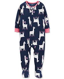 Carter's Baby Girls Llama Footed Fleece Pajamas
