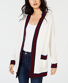 Maison Jules Varsity-Stripe Cardigan Sweater, Created for Macy's
