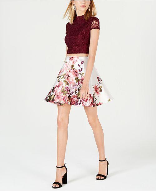 07ca917d47 ... City Studios Juniors  2-Pc. Lace   Floral-Print Dress
