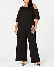 Plus Size Cold-Shoulder Jumpsuit