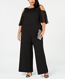 Connected Plus Size Cold-Shoulder Jumpsuit