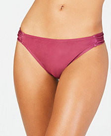 California Waves Solid Side Shirred Hipster Bottoms, Created for Macy's