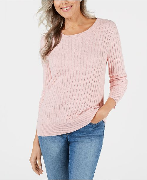 Karen Scott Petite Cable-Knit Scoop-Neck Sweater, Created for Macy's