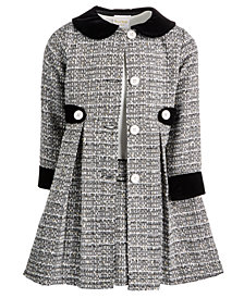 Blueberi Boulevard Little Girls 2-Pc. Tweed Coat & Dress Set