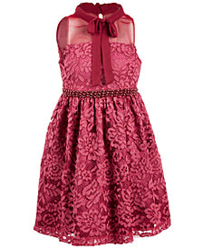 Bonnie Jean Little Girls Illusion Neck Lace Dress