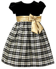 Jayne Copeland Toddler Girls Velvet Plaid Dress