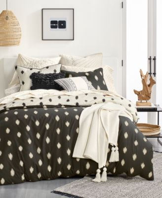 Cotton Sateen 230-Thread Count 4-Pc. Ikat Dot Full Sheet Set, Created for Macy's