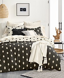 Ikat Dot Cotton 3-Pc. King Duvet Cover Set, Created for Macy's