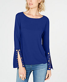 I.N.C. Embellished Split-Sleeve Top, Created for Macy's