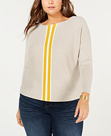 I.N.C. Plus Size Varsity-Stripe Sweater, Created for Macy's