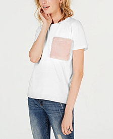 Say What? Juniors' Faux-Fur-Pocket T-Shirt