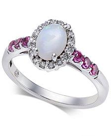 Multi-Gemstone (7/8 ct. t.w.) & Diamond (1/6 ct. t.w.) Ring in 14k Gold