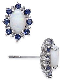 Multi-Gemstone (1-1/8 ct. t.w.) & Diamond Accent Stud Earrings in 14k White Gold