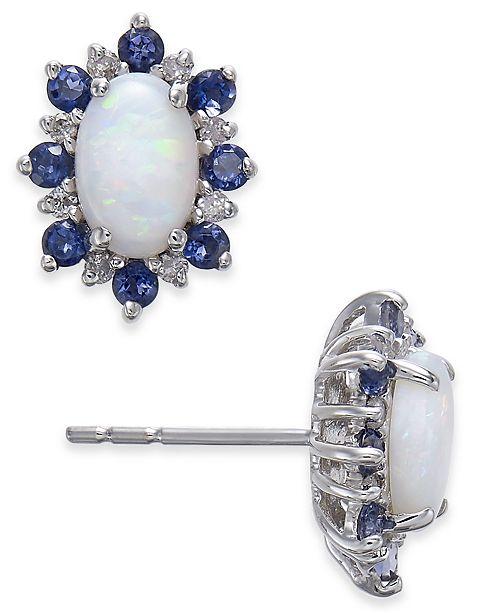 Macy's Multi-Gemstone (1-1/8 ct. t.w.) & Diamond Accent Stud Earrings in 14k White Gold