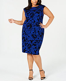 Connected Plus Size Flocked Sheath Dress