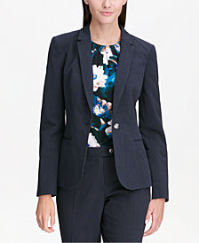 Calvin Klein Pinstripe One-Button Blazer