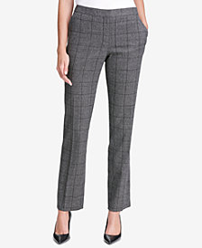 Calvin Klein Plaid Straight-Leg Pants
