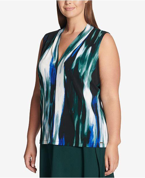 b88b8b055b8 Calvin Klein Plus Size Printed V-Neck Top - Tops - Women - Macy s