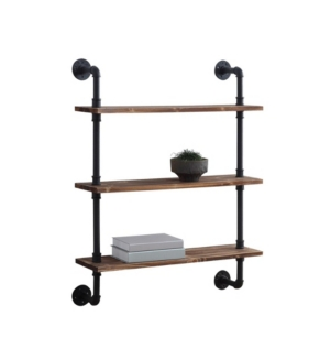 The Anacortes Three Shelf Piping Unit is a great way to add organization to your space with an open shelving concept. The rustic wood shelf provides the classic rustic look making it a great addition into any room. The piping can easily be fastened to the wall or you can use the feet to set it on the floor.