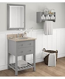 "24"" Beveled Bath Vanity Mirror, Gray"
