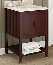 "25"" Bennett Bath Vanity With Marble Sink Top Set, Espresso W/Galala Beige Top"