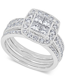 Diamond Bridal Set (1-1/2 ct. t.w.) with Guard in 14k White Gold