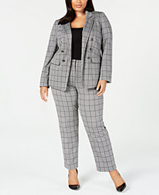 Kasper Plus Size Double-Breasted Blazer & Plaid Pants