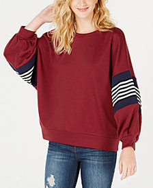 Say What? Juniors' Striped Balloon-Sleeve Sweatshirt
