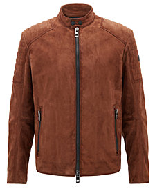 BOSS Men's Slim-Fit Suede Leather Biker Jacket