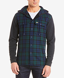 Lacoste Men's Tartan Plaid Hooded Shirt